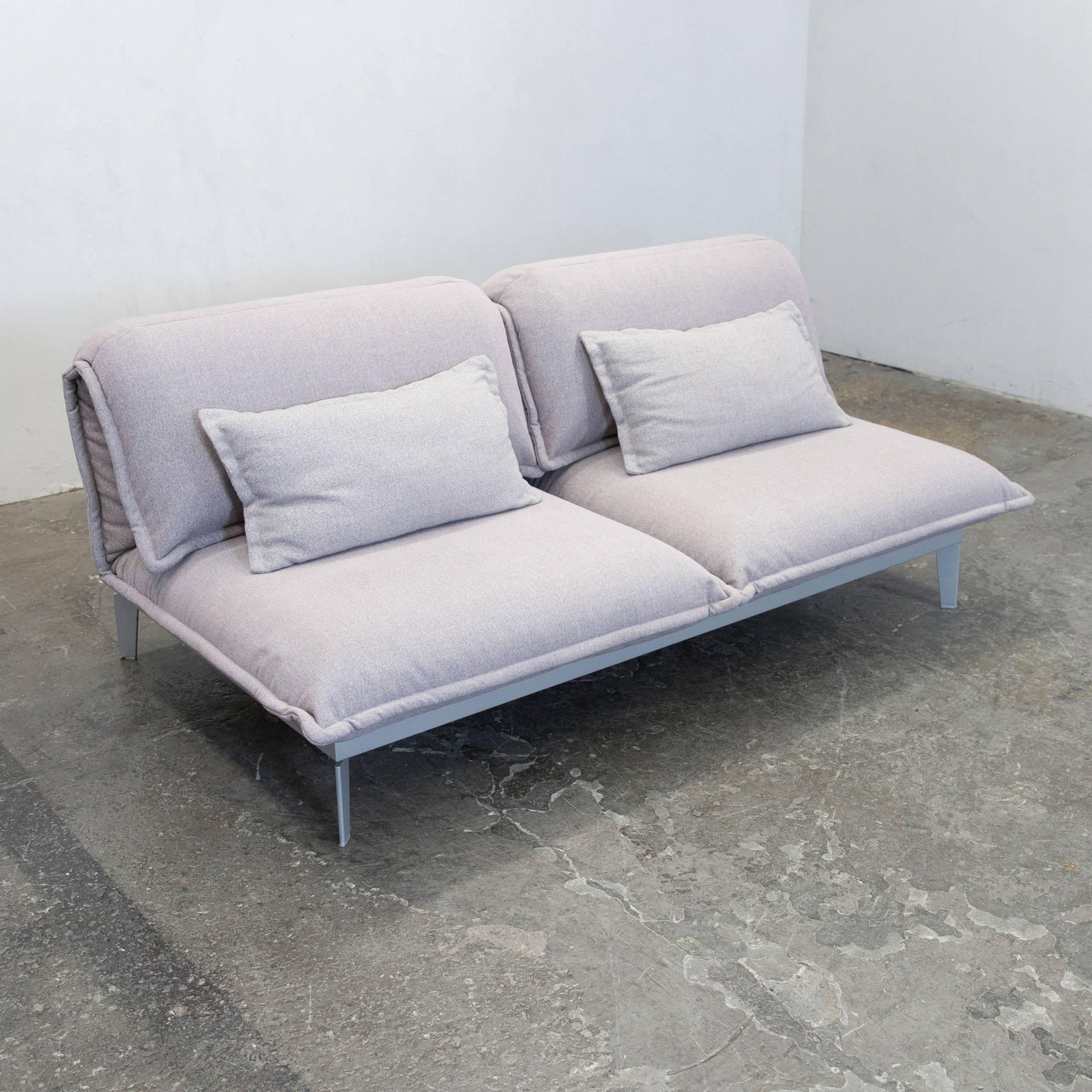Rolf Benz Nova Designer Sofa Grey Rose Lilac Fabric Two Seat