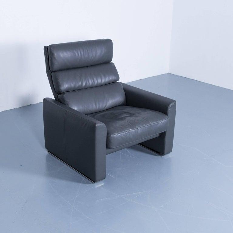 Erpo Soho Designer Armchair Leather Grey Anthracite One