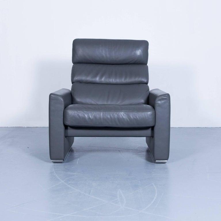 Erpo soho designer armchair leather grey anthracite one for Sessel leder grau