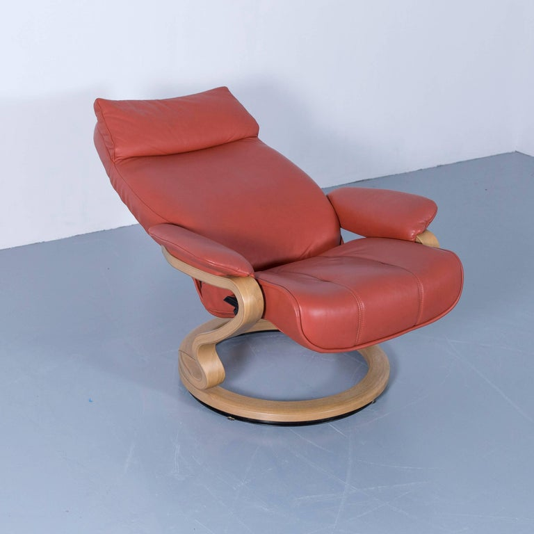 Himolla Zerostress Armchair with Footstool Leather Orange
