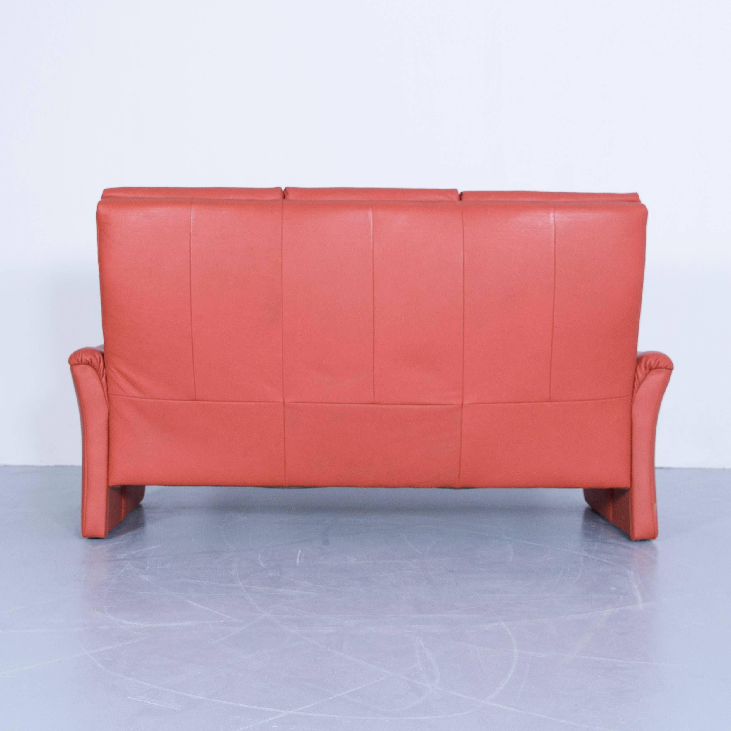 Marvelous One Seat Sofa #8 - Himolla Zerostress Three-Seat Sofa Leather Orange Relax One Seat Couch For  Sale 5