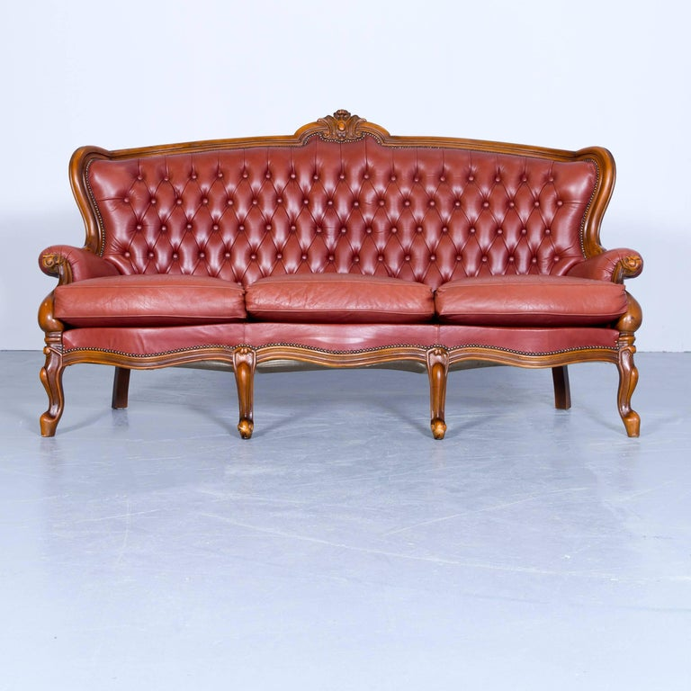 barock chesterfield sofa red brown leather three seat couch vintage rivets for sale at 1stdibs. Black Bedroom Furniture Sets. Home Design Ideas