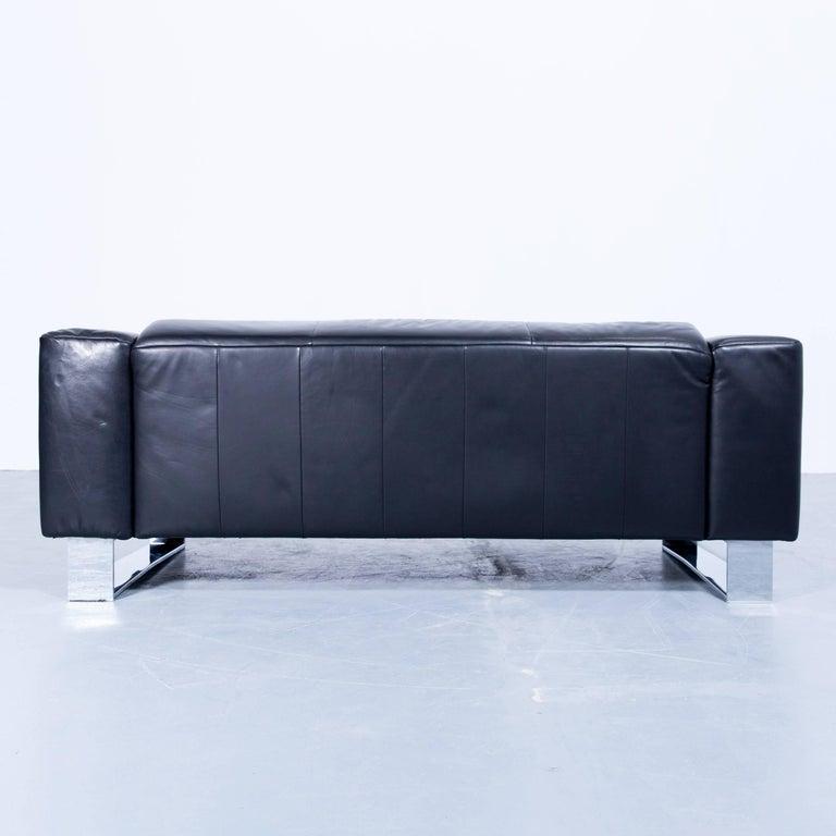 Rolf Benz Bmp Designer Sofa Set Leather Black Three-Seat Couch Chrome 3+2