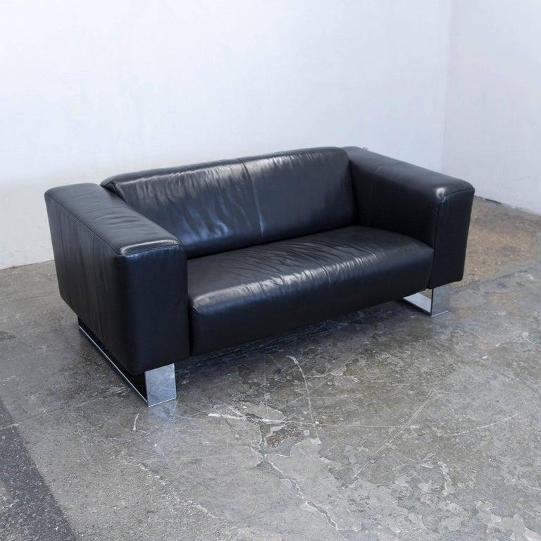 rolf benz bmp designer sofa set leather black three seat. Black Bedroom Furniture Sets. Home Design Ideas
