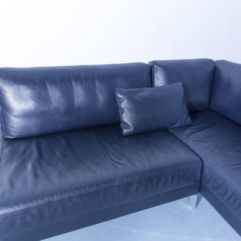 Rolf benz vida designer leather corner sofa dark blue for Sessel dunkelblau