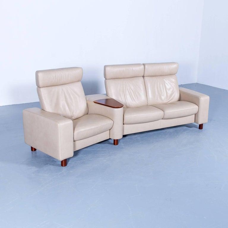 ekornes stressless space relax sofa beige cr me leather tv. Black Bedroom Furniture Sets. Home Design Ideas