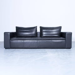 BoConcept Designer Sofa Black Leather Three-Seat Modern Cubic