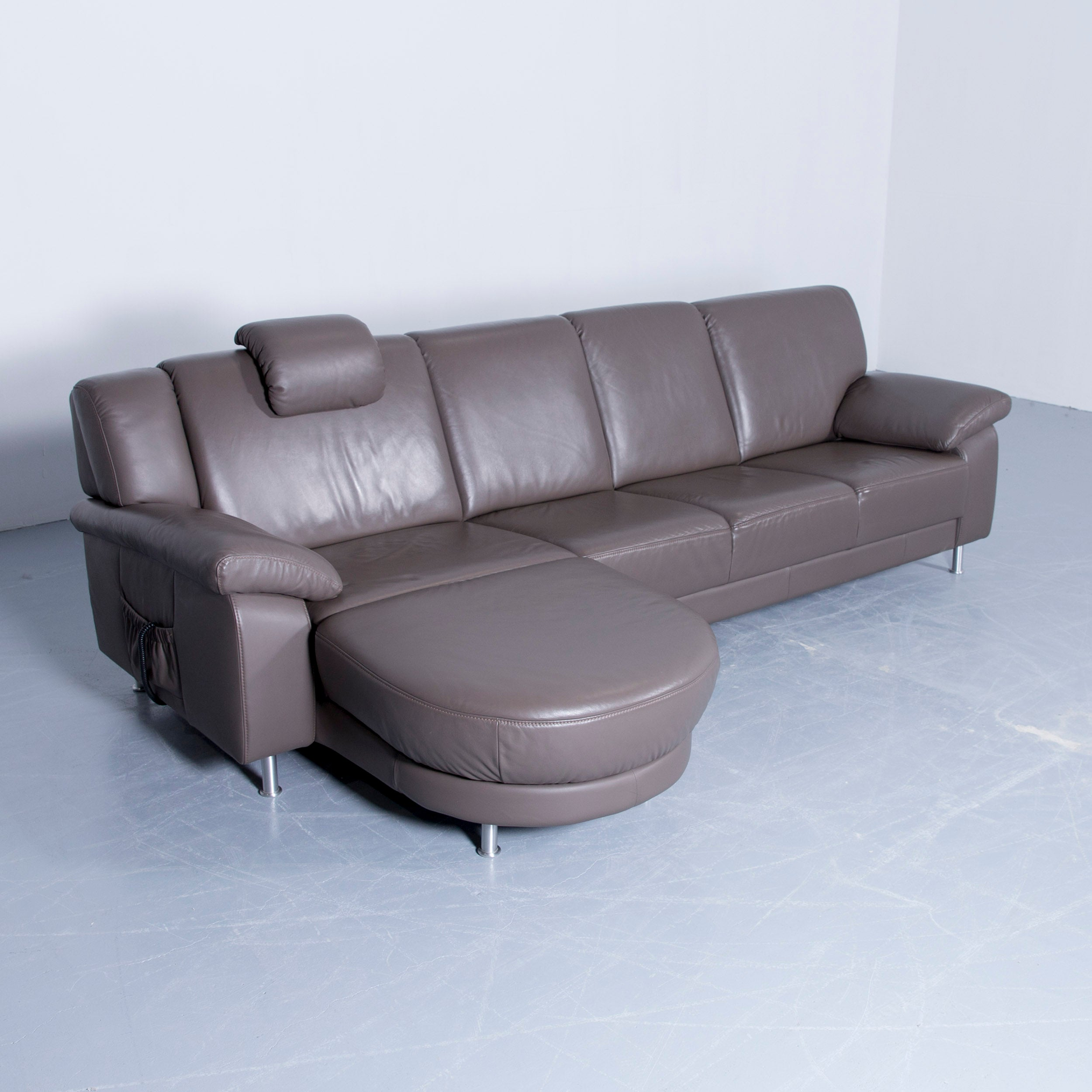Himolla Planopoly Corner Sofa Leather Brown Electric Recline Function Couch  At 1stdibs