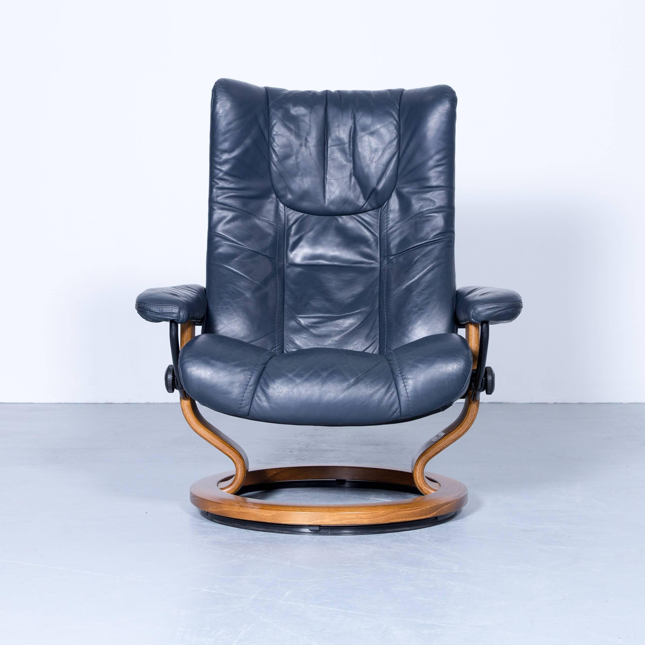 Stressless Wing Relax Armchair Dark Blue + Footrest Leather Relax TV  Recliner At 1stdibs