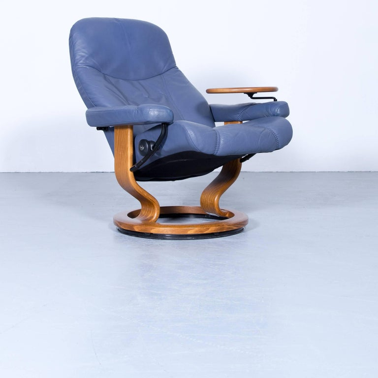 Stressless Consul Relax Armchair And Footstool Set Blue Leather