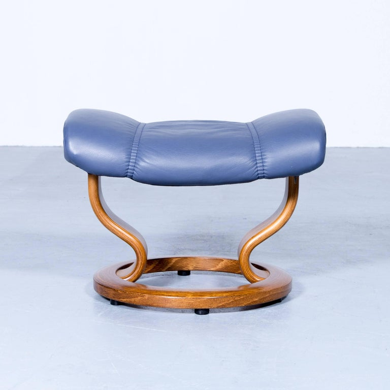 Ekornes Stressless Consul Footstool Leather Blue Modern Footrest At