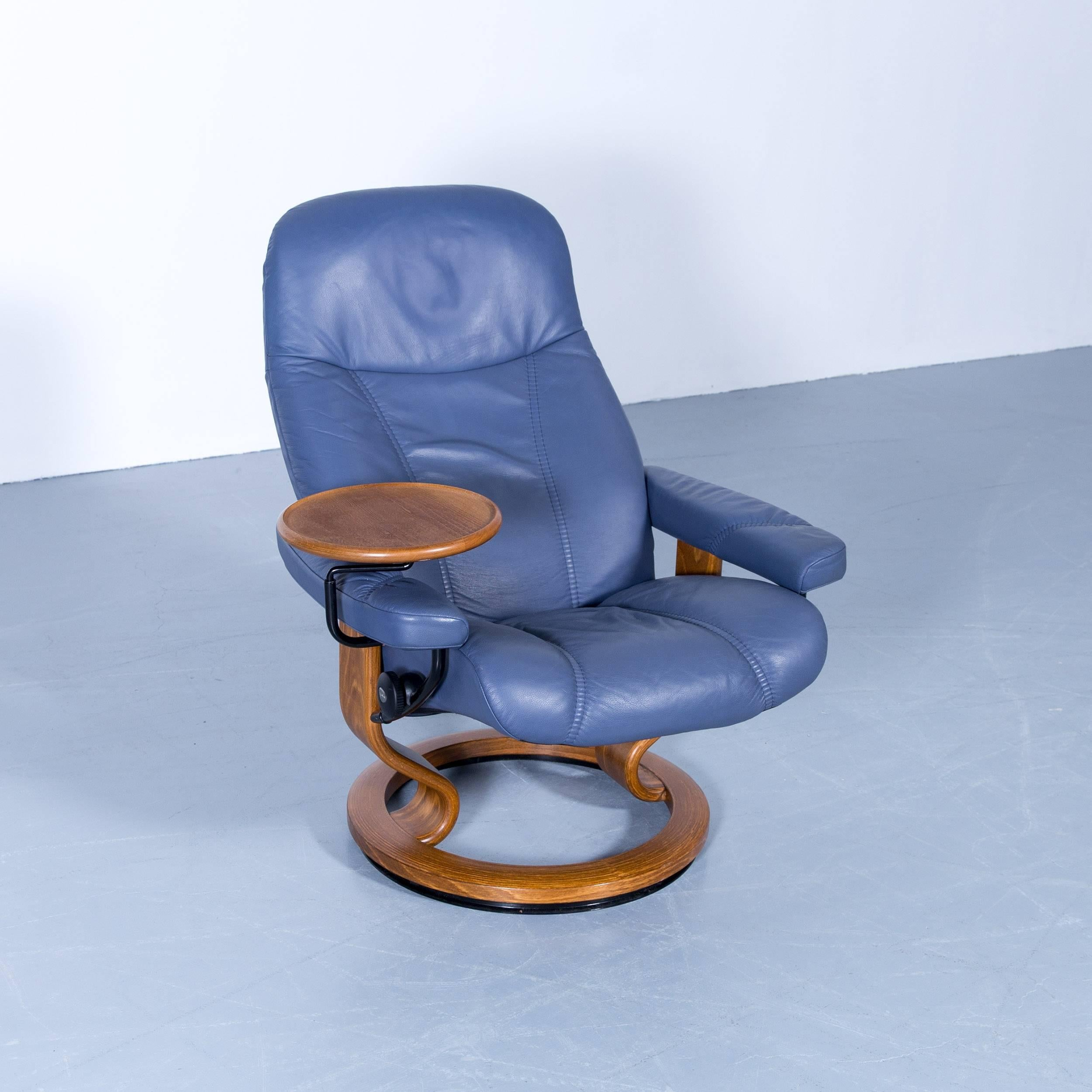 Contemporary Stressless Consul Relax Armchair Light Blue Leather Relax  Function TV Recliner For Sale