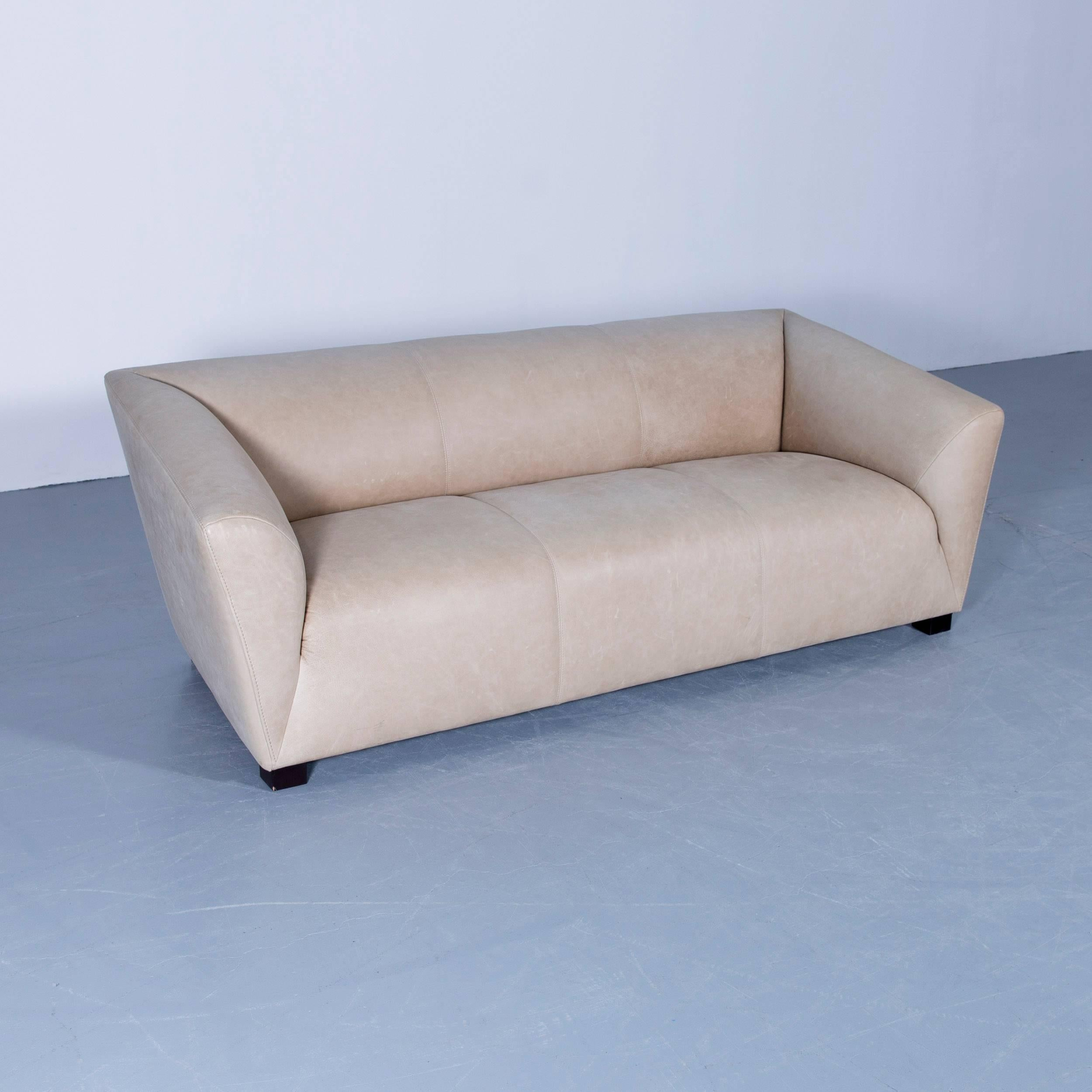 Machalke Theo Designer Sofa Anilin Leather Beige Brown Three Seat Couch  Modern In Good Condition