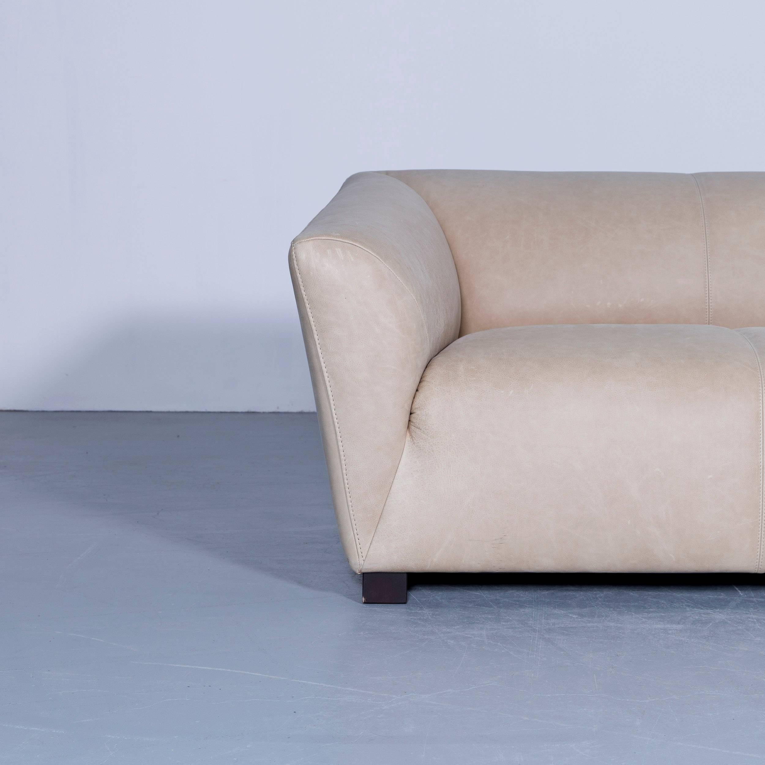 Beige Brown Colored Original Machalke Theo Designer Leather Sofa, In A  Minimalistic And Modern Design