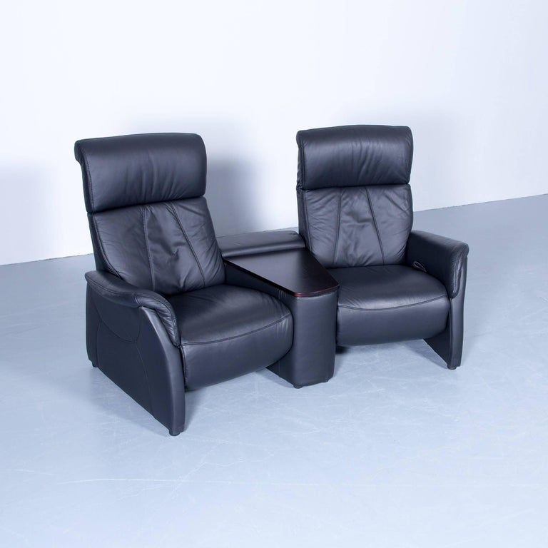 Designer Two Seat Sofa Black Relax Couch Leather Function Modern Two Seat At 1stdibs