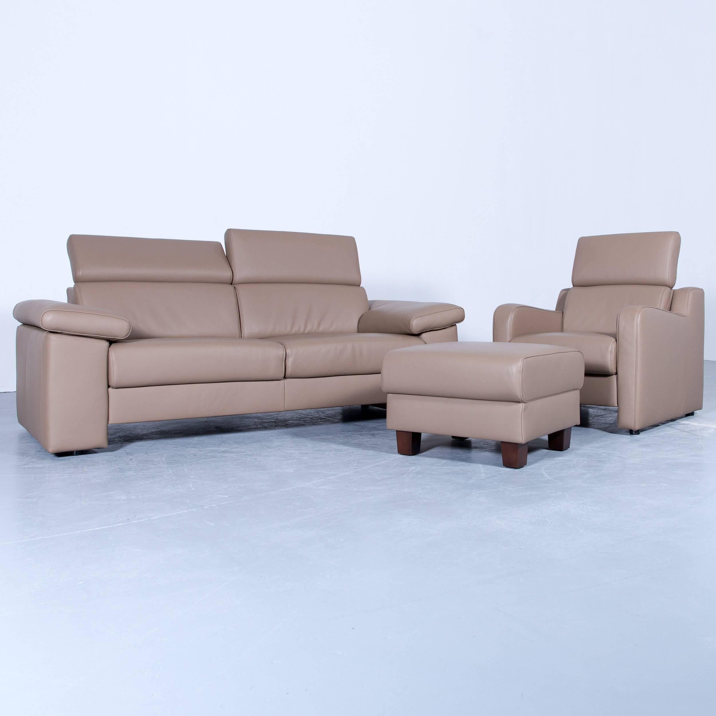 Akau0027dor Designer Sofa, Armchair, Footrest Leather Beige Brown Modern Wood  Feet For Nice Ideas