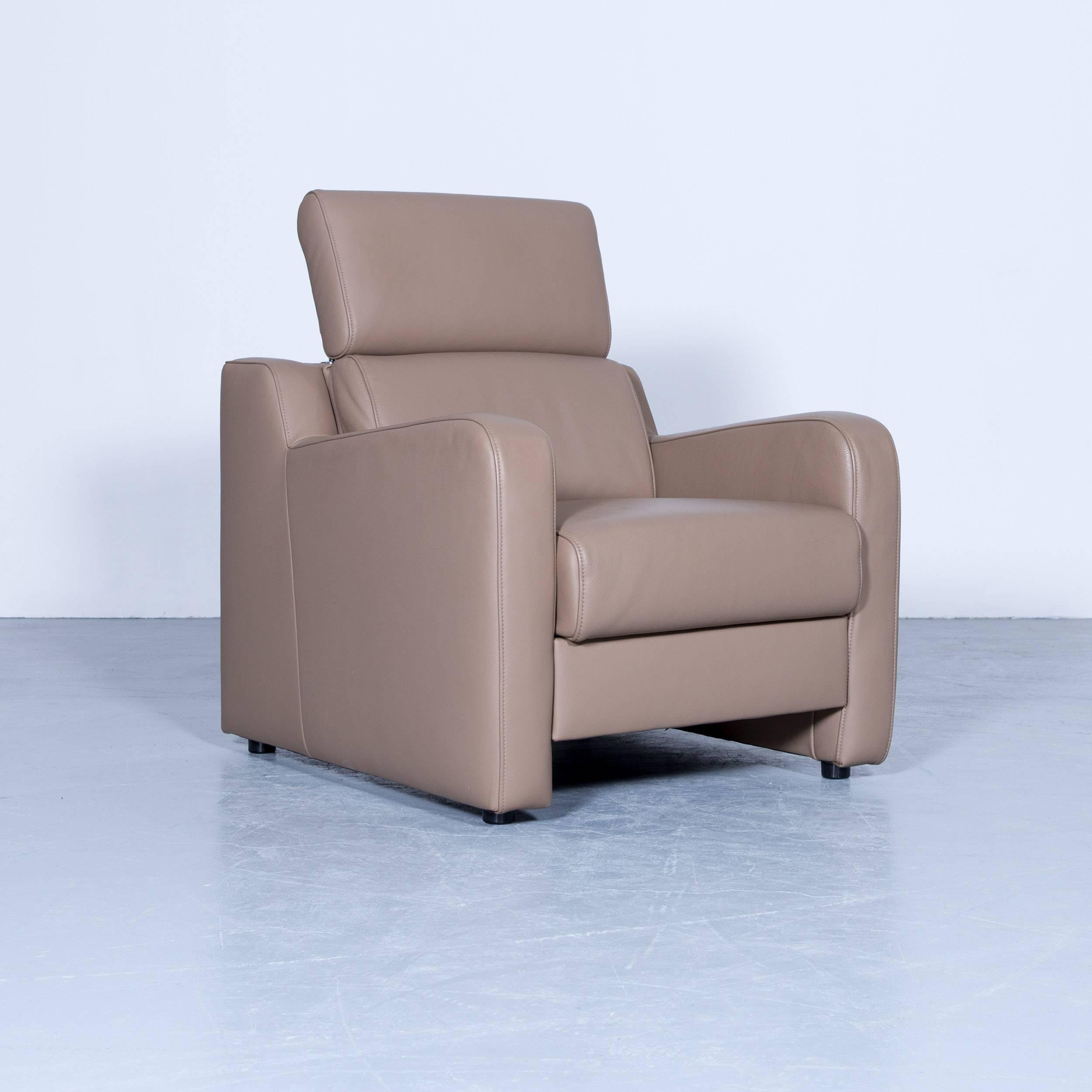 Superieur Akau0027dor Designer Sofa, Armchair, Footrest Leather Beige Brown Modern Wood  Feet For