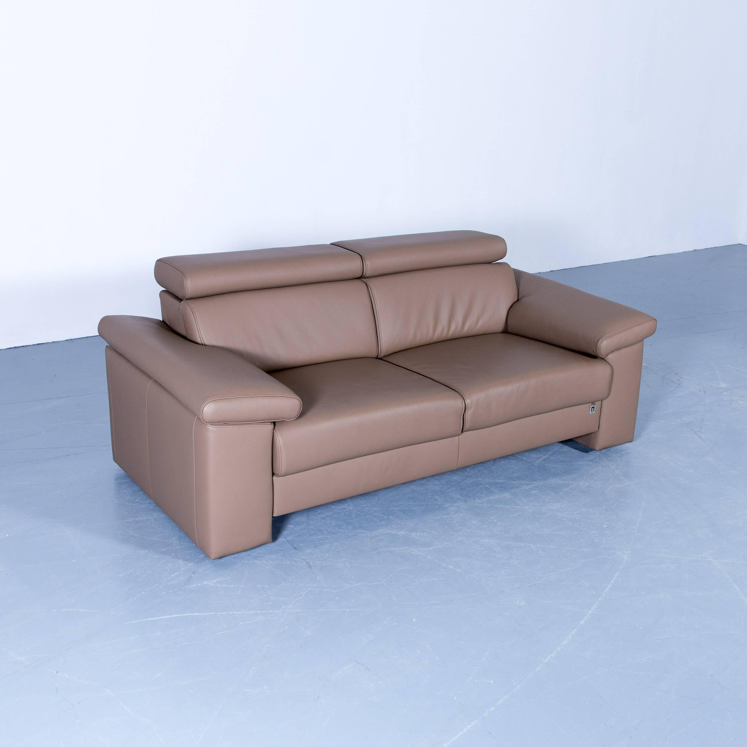 Akau0027dor Designer Sofa, Armchair, Footrest Leather Beige Brown Modern Wood  Feet In