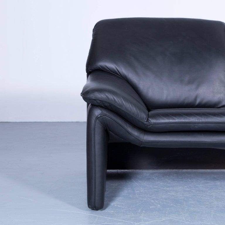 Laauser Atlanta Designer Sofa Leather Black Two-Seat Couch