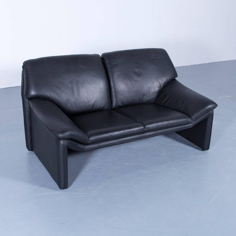German Laauser Atlanta Designer Sofa Leather Black Two Seat Couch For