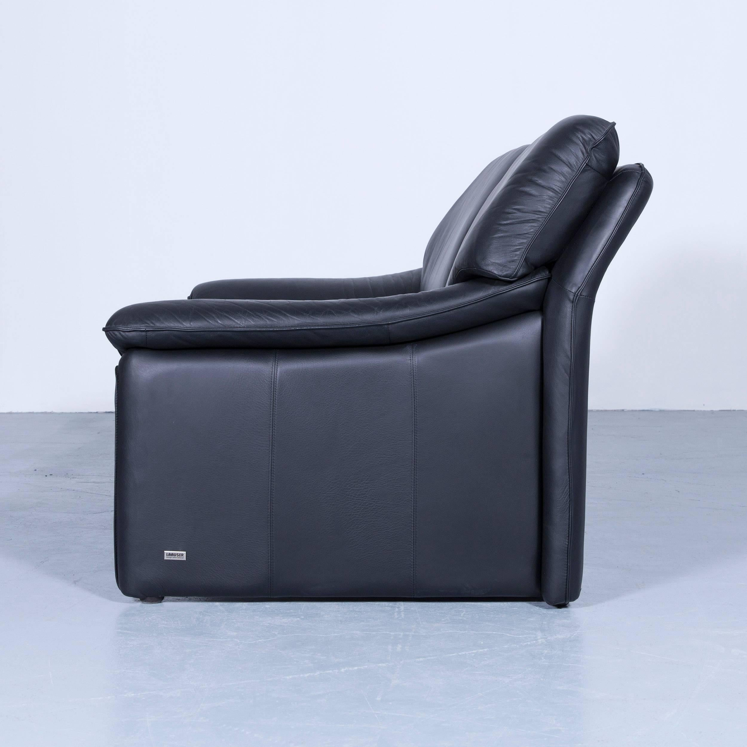 Laauser Atlanta Designer Sofa Leather Black Two Seat Couch At 1stdibs