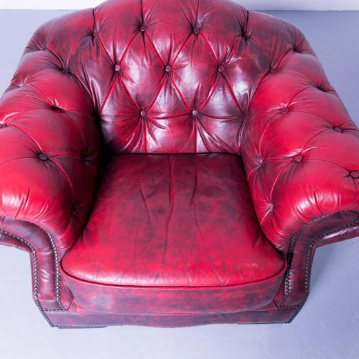 Chesterfield Armchair Leather Red One-Seat Couch, Retro Vintage at ...