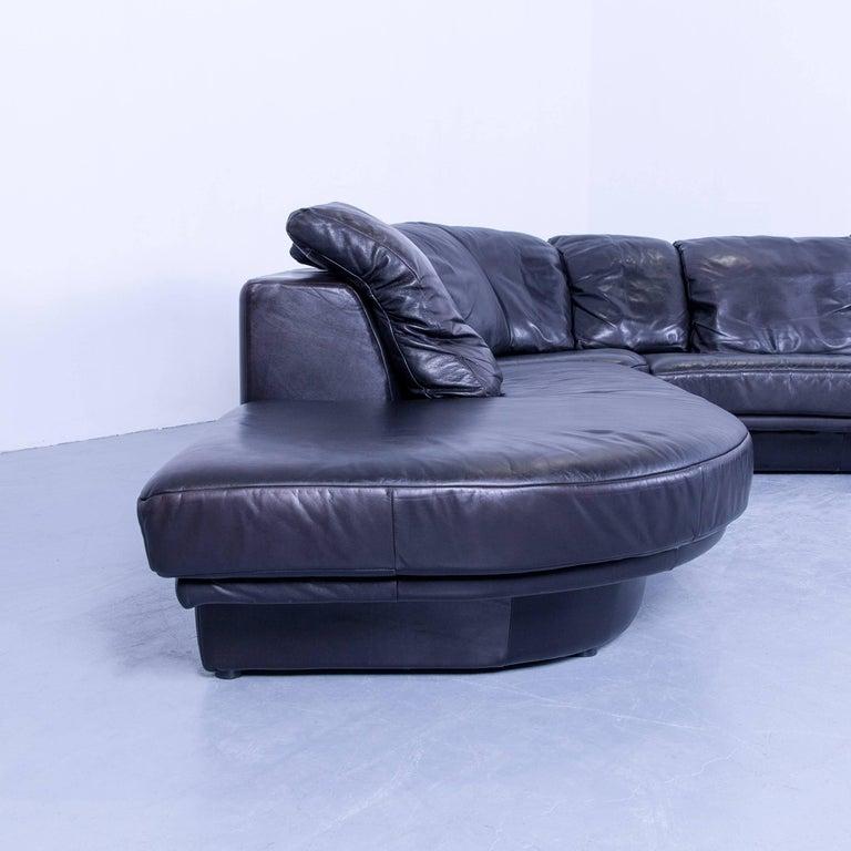 rolf benz designer corner sofa leather black couch modern. Black Bedroom Furniture Sets. Home Design Ideas