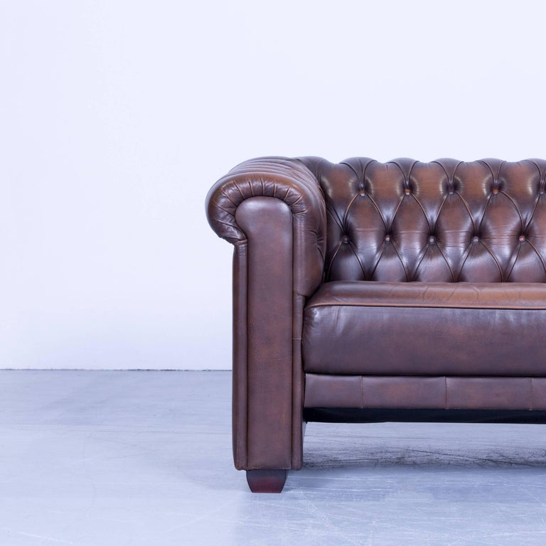 original chesterfield three seat sofa brown leather. Black Bedroom Furniture Sets. Home Design Ideas