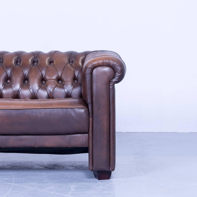 original chesterfield three seat sofa brown leather vintage retro for sale at 1stdibs. Black Bedroom Furniture Sets. Home Design Ideas