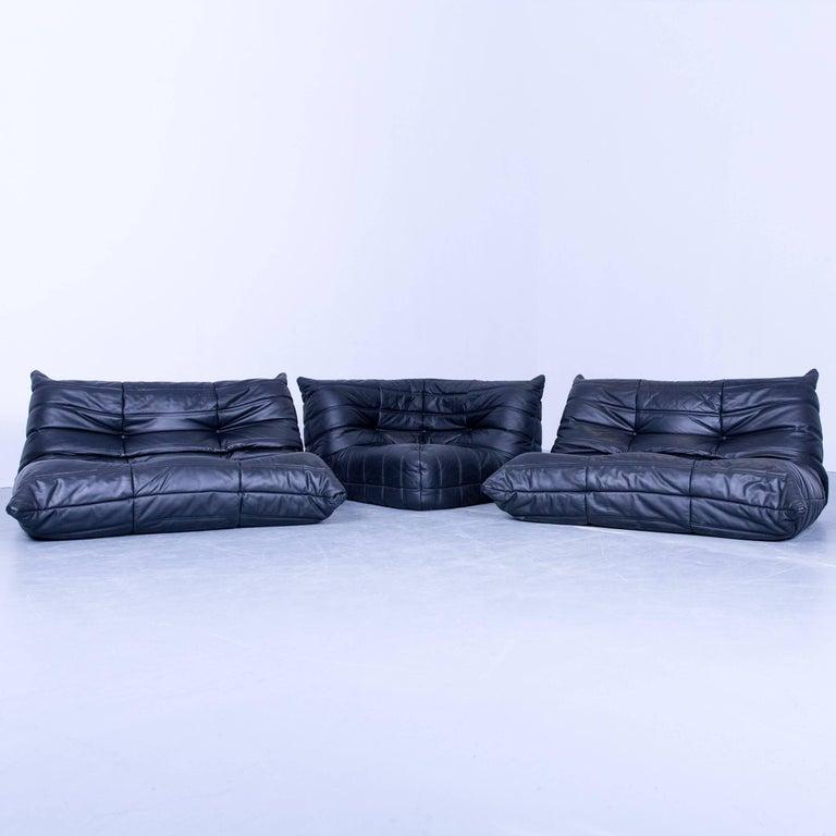 Ligne Roset Togo Designer Corner Sofa Black Leather Two Seat Retro