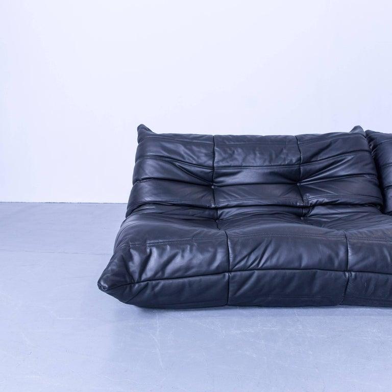 French Ligne Roset Togo Designer Corner Sofa Black Leather Two Seat Retro Couch For