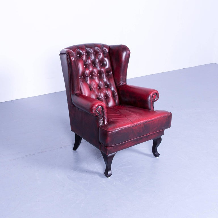 chesterfield armchair oxblood red vintage retro wood. Black Bedroom Furniture Sets. Home Design Ideas