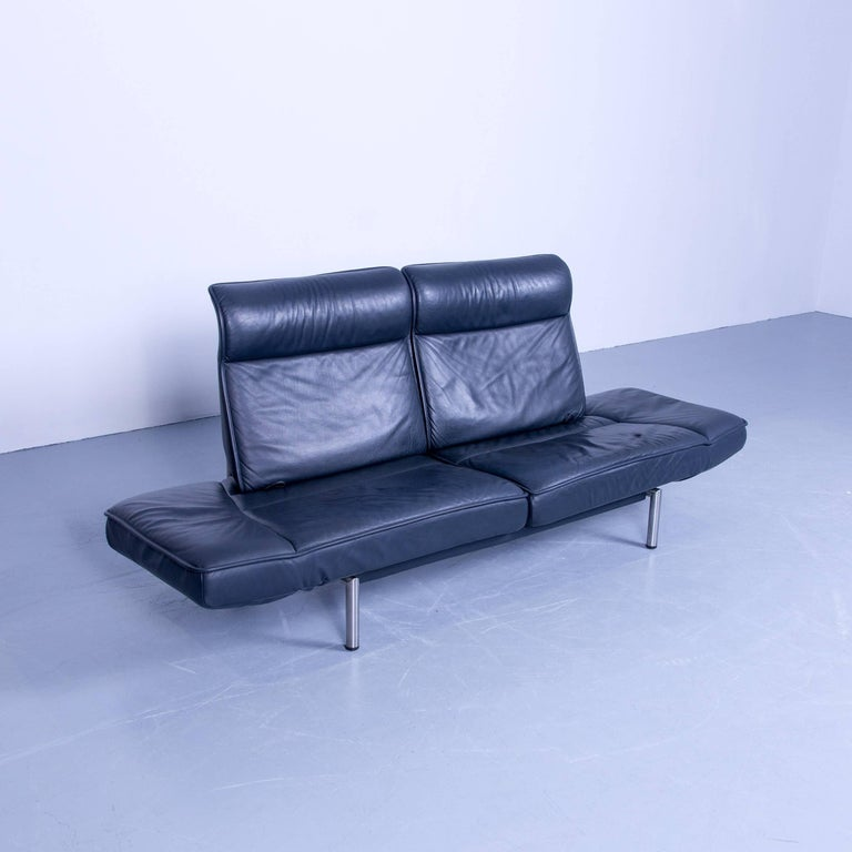 De Sede Ds 450 Designer Leather Sofa Night Blue Relax Function Two Seat Modern