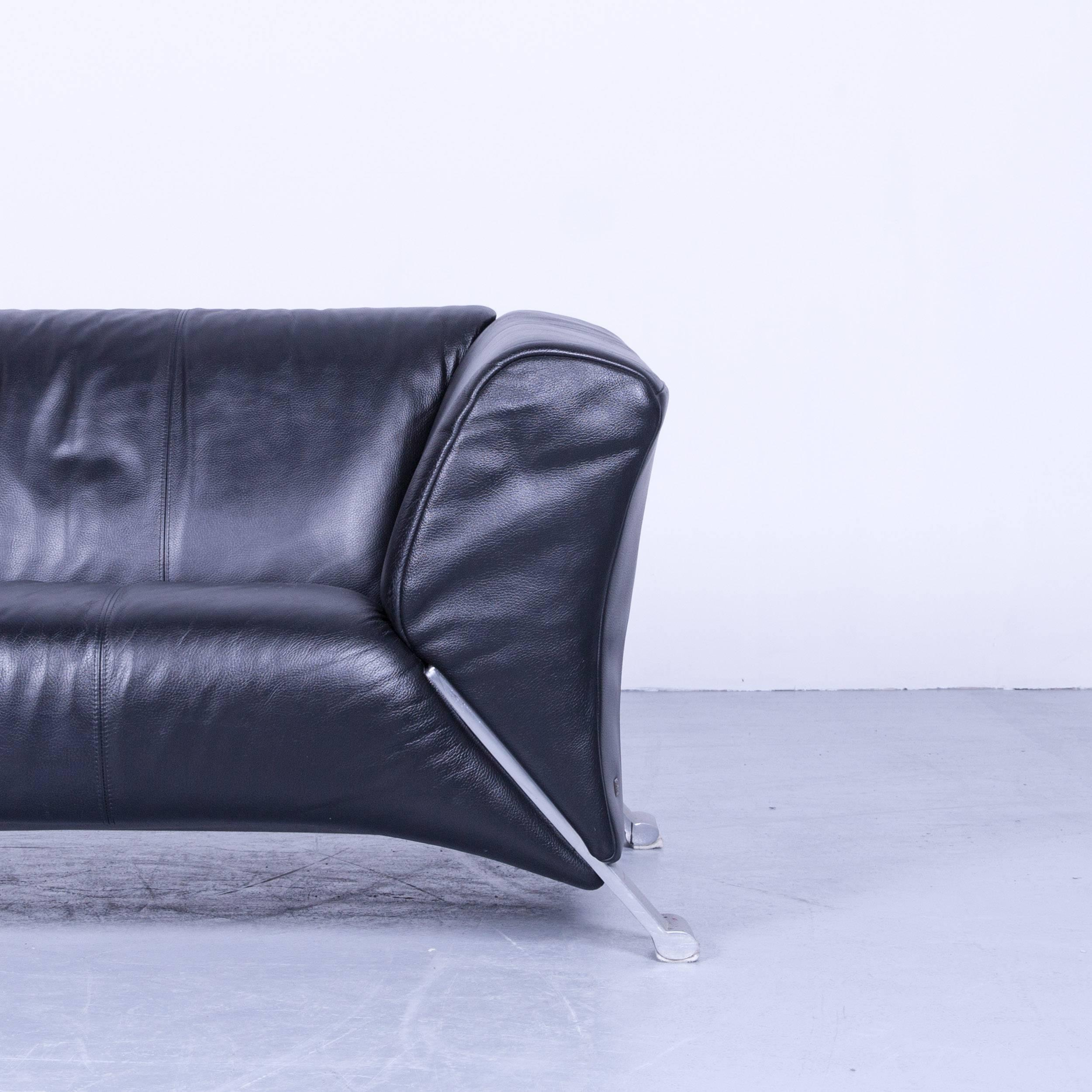 Finest German Rolf Benz Designer Sofa Black Twoseat Leather Modern Couch  Metal Feet For With Sofa Leder Schwarz With Sofa Leder Schwarz
