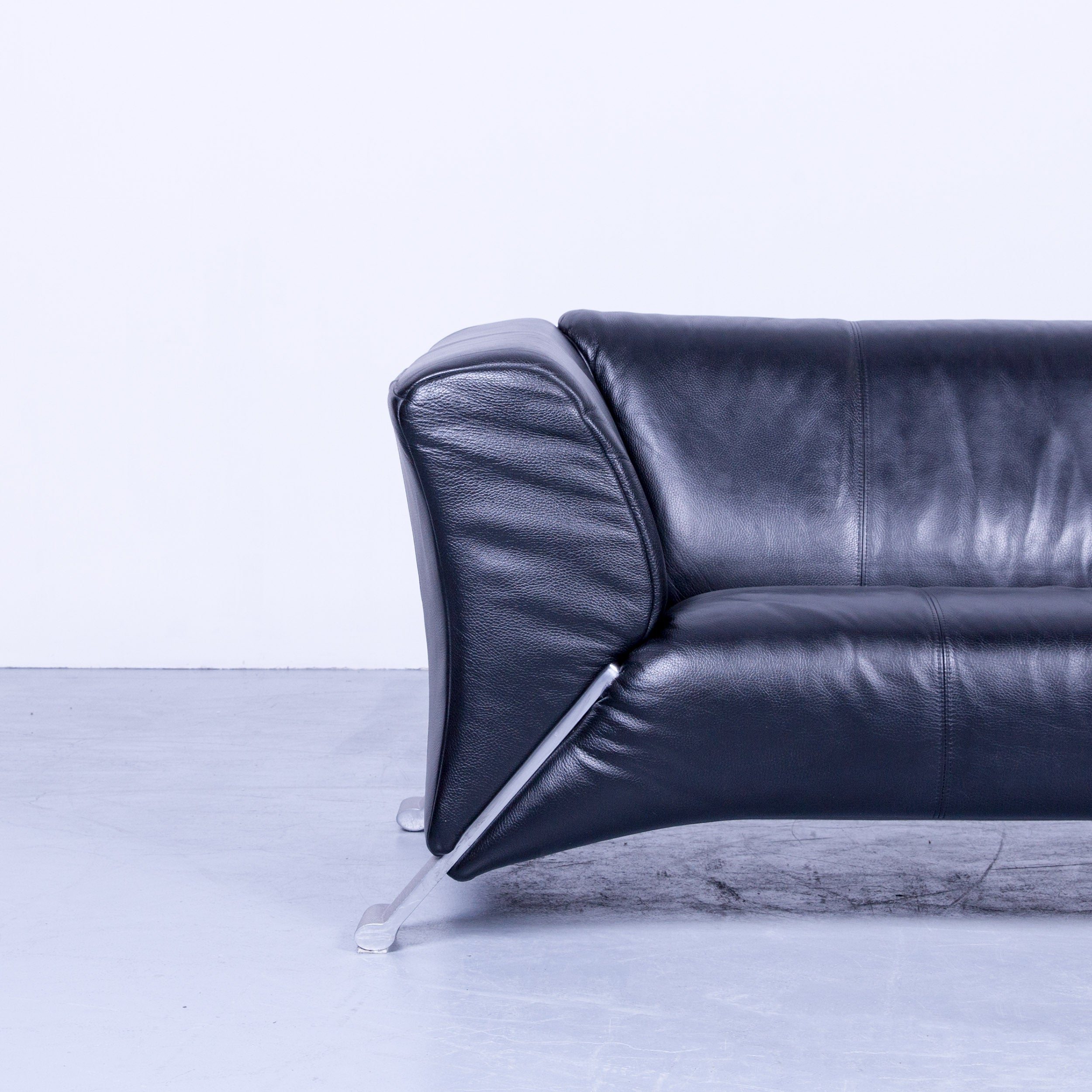 Rolf Benz 322 Designer Sofa Black Three Seat Leather Modern Couch