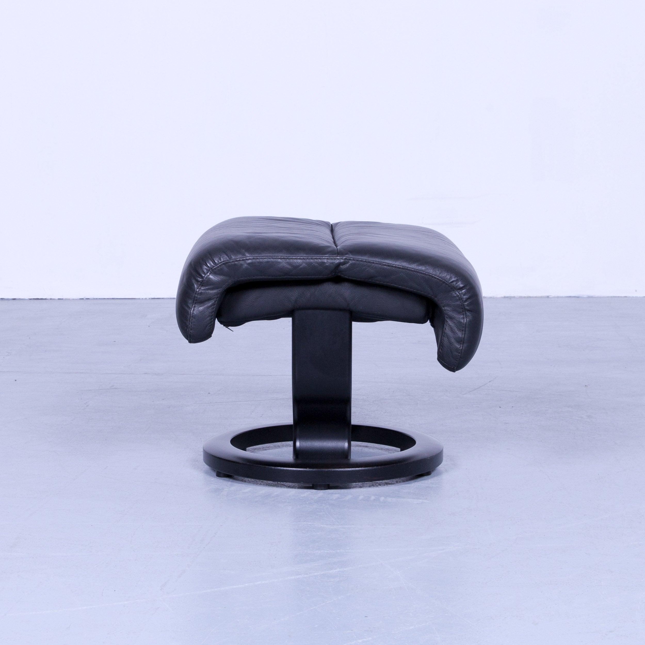 Ekornes Stressless Footstool Black Leather Modern Footrest Designer