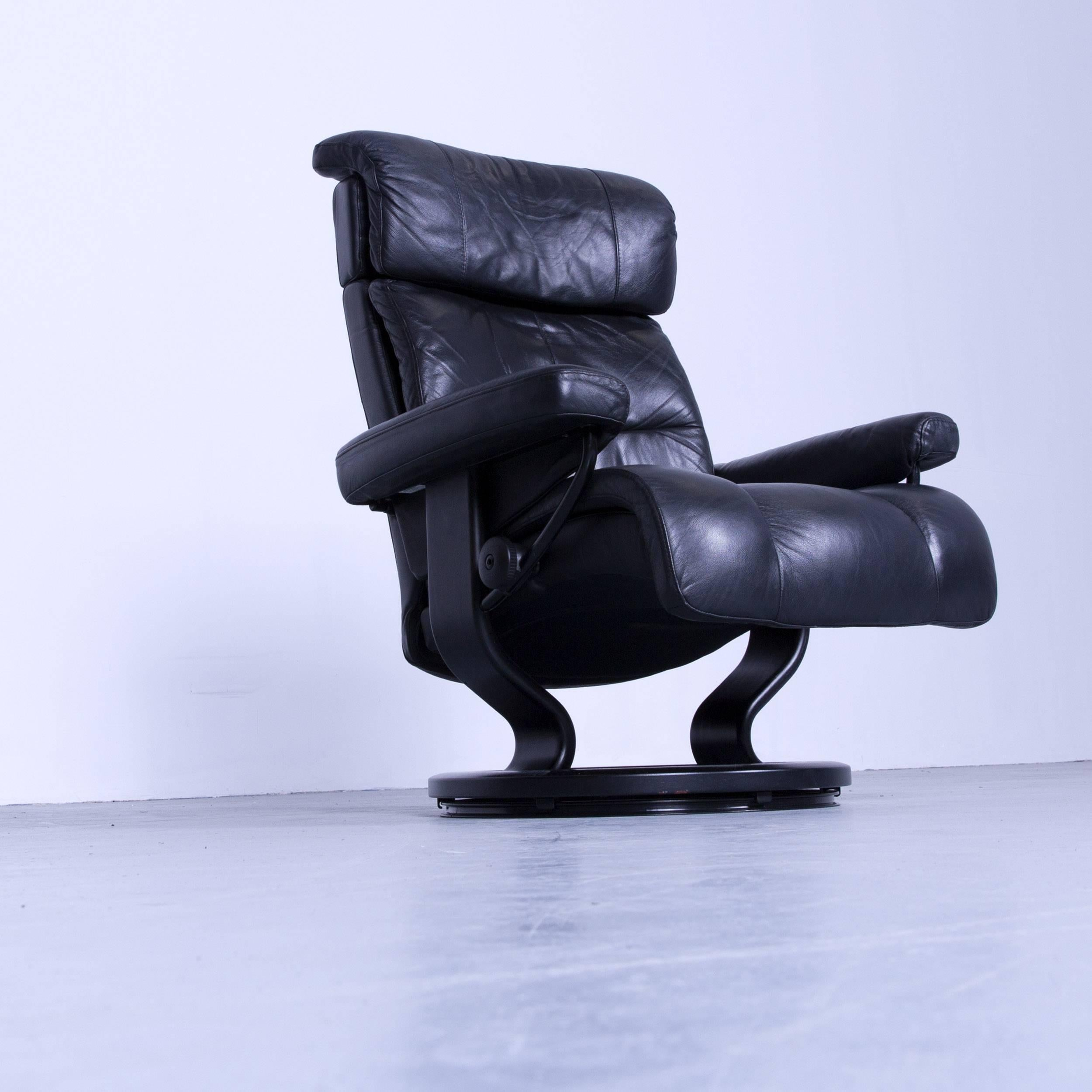 Stressless Relax Armchair Black Leather Relax Recliner TV Chair Wood For  Sale 5