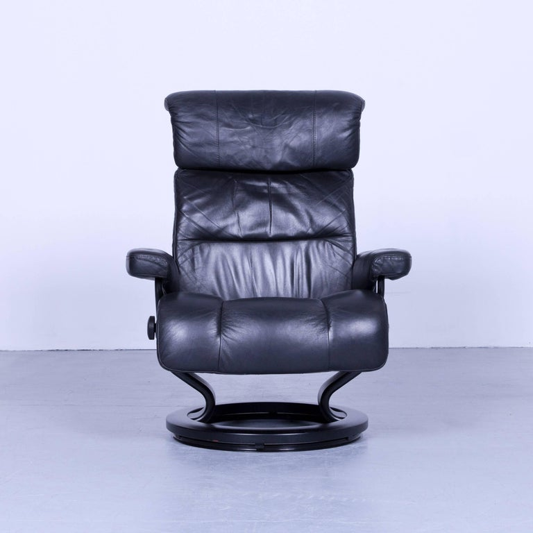 Stressless Relax Armchair And Footstool Black Leather Recliner Tv Chair Wood With Convenient Functions