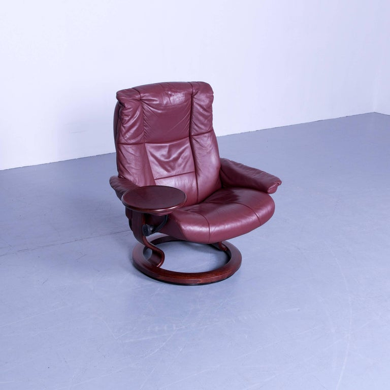 German Ekornes Stressless Mayfair Armchair And Footstool Red Leather Recliner Chair For