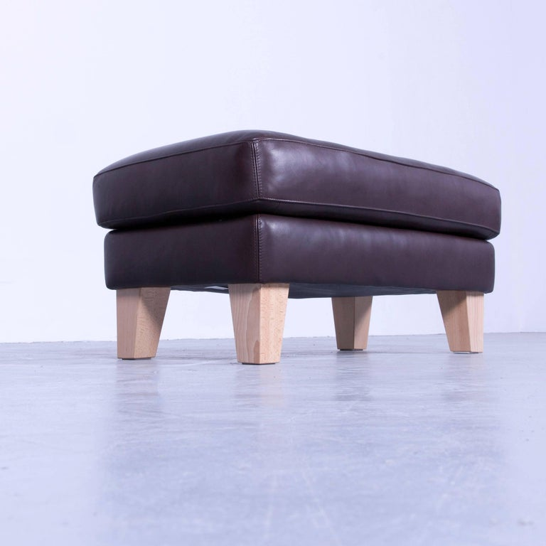 machalke footstool mocca brown leather modern footrest. Black Bedroom Furniture Sets. Home Design Ideas