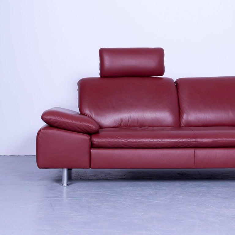 willi schillig loop designer corner sofa leather red function couch modern at 1stdibs. Black Bedroom Furniture Sets. Home Design Ideas