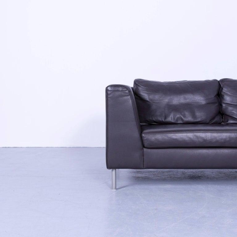 Ewald Schillig Designer Corner Sofa And Footrest Brown Mocca Leather Couch Pouf