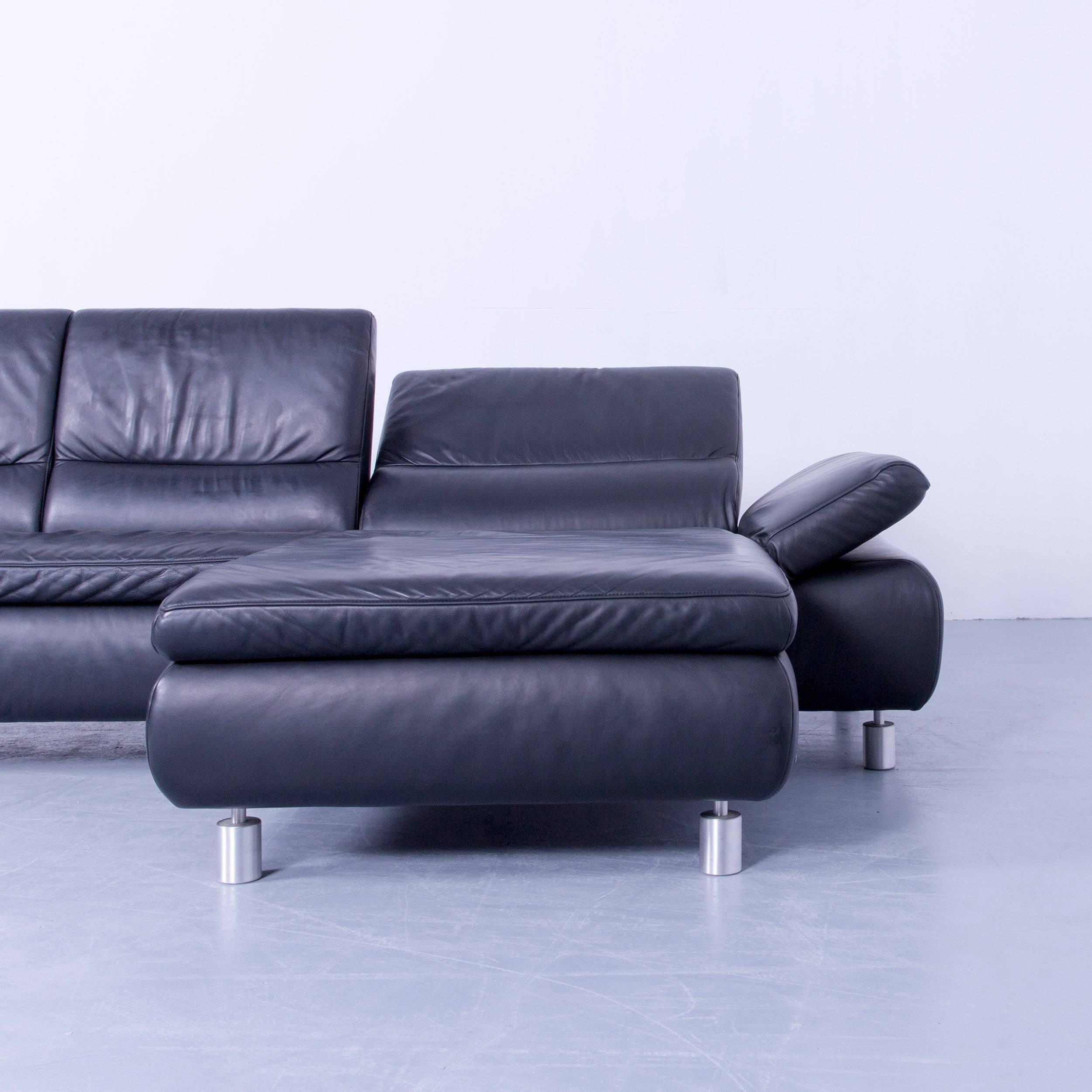 German Koinor Designer Corner Sofa Leather Black Couch Modern Function For  Sale