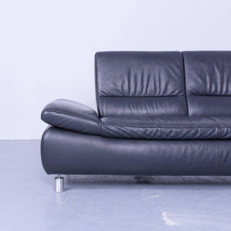 Koinor designer corner sofa leather black couch modern for Funktions ecksofa