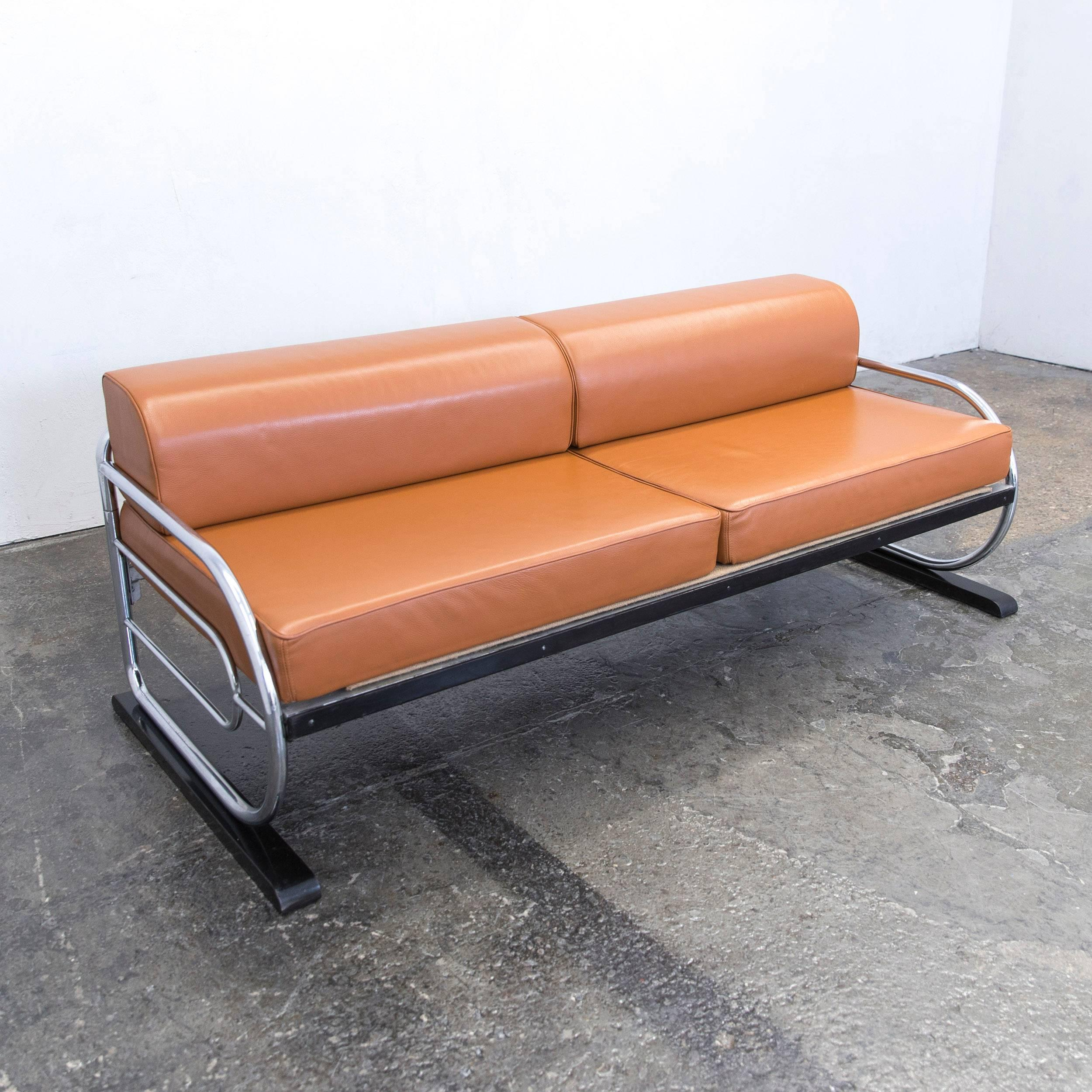 Sofa Leder Cognac gottwald bauhaus designer sofa leather cognac brown three seat metal