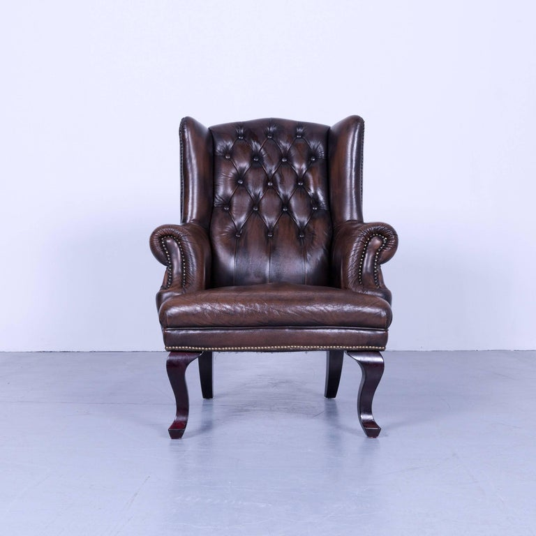 chesterfield armchair brown mocca leather vintage retro. Black Bedroom Furniture Sets. Home Design Ideas
