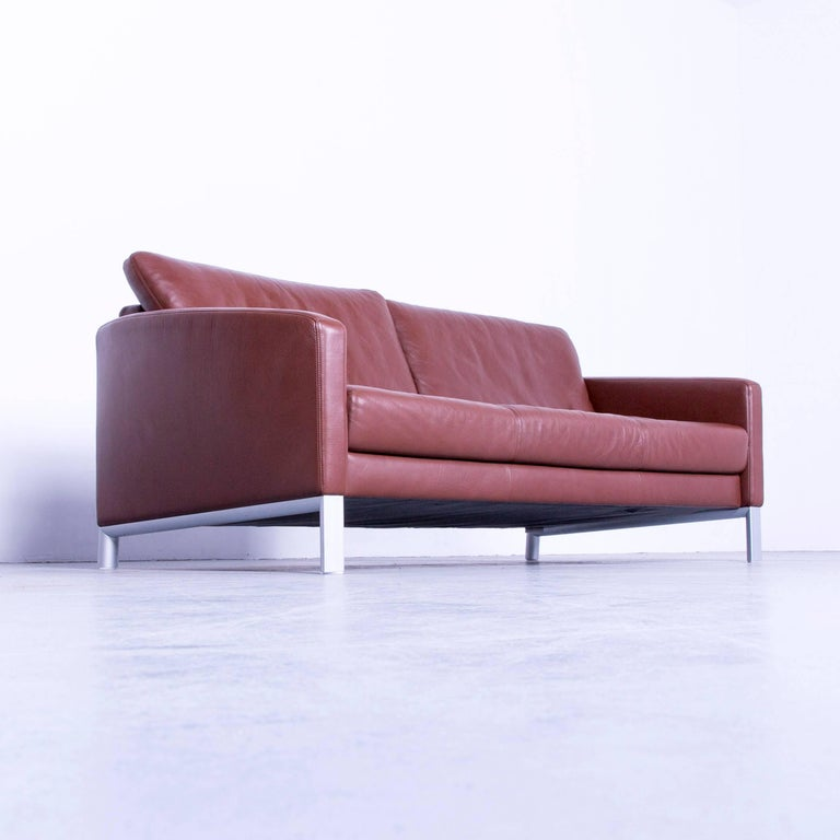 Rolf Benz 1200 Designer Sofa Brown Three Seat Leather