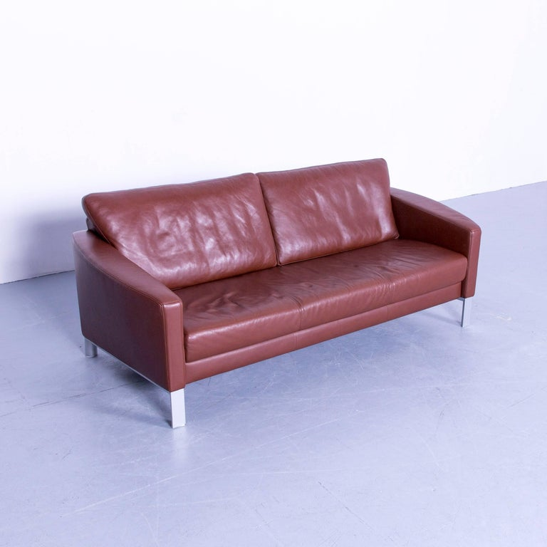 Rolf Benz 1200 Designer Sofa Brown Three-Seat Leather Modern Couch ...