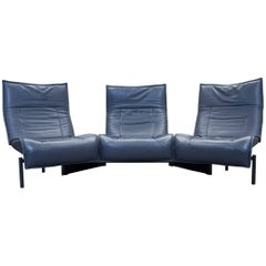 Cassina Veranda Vico Magistretti Sofa Leather Anthrazit Grey Three-Seat Couch