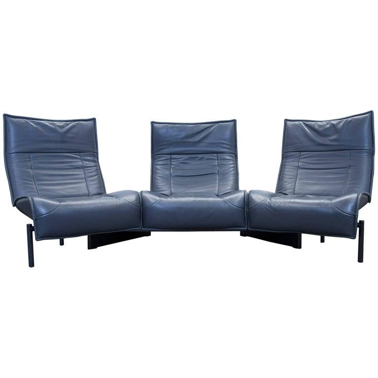 Cassina Veranda Vico Magistretti Sofa Leather Anthrazit Grey Three-Seat Couch